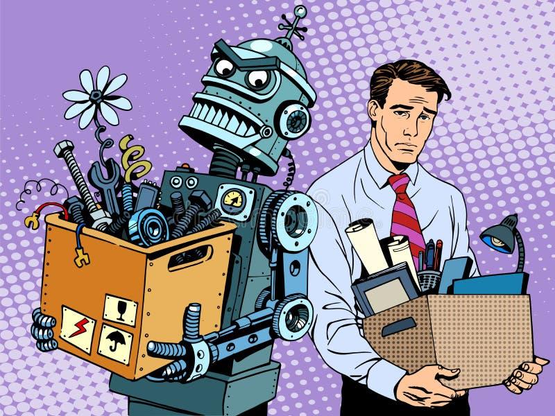 Nowa technologia robot zamienia istoty ludzkiej ilustracja wektor