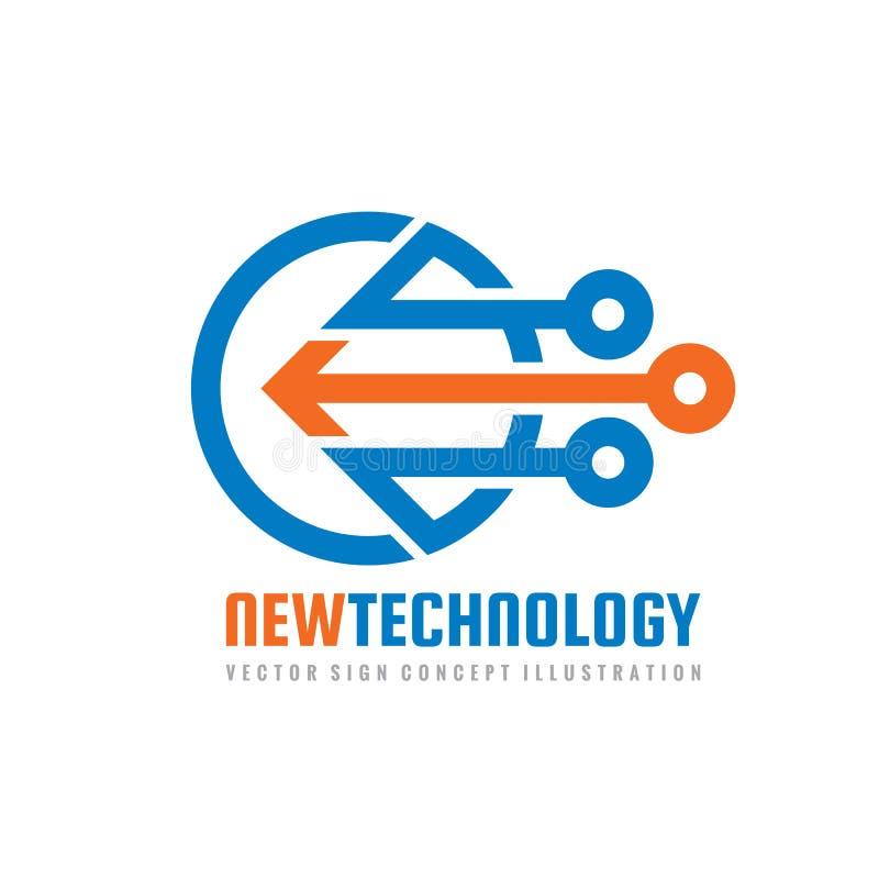 Nowa technologia - wektorowy loga szablon dla korporacyjnej tożsamości Abstrakcjonistyczny układu scalonego znak Sieć, internet t royalty ilustracja