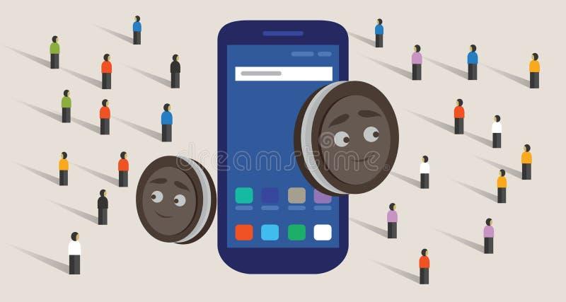 Nowa wersja mobilnego systemu operacyjnego mądrze telefon i ciastka wpólnie tłoczymy się zakupu jedzenie online ilustracji