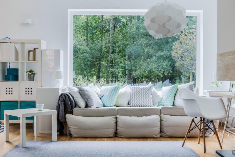 Nowa wygodna kanapa z poduszkami zdjęcia royalty free