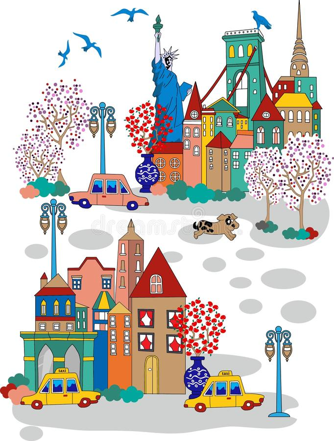 Nowa York miasta kreskówka royalty ilustracja