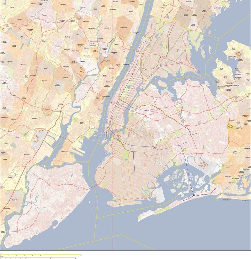 Nowa York miasta mapa ilustracji