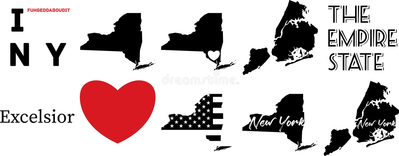 Nowa York USA mapa i kierowy symbol royalty ilustracja