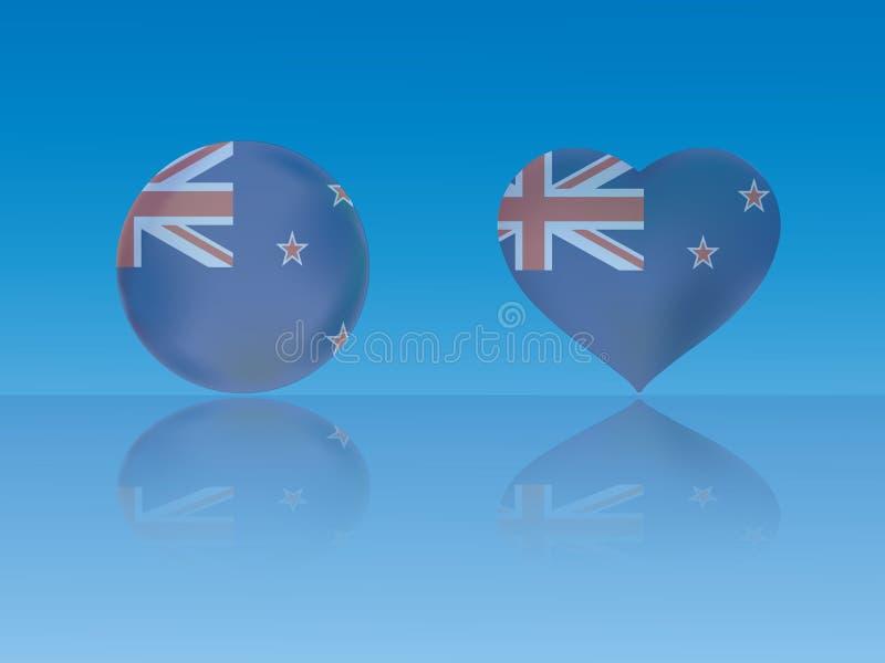 Nowa Zelandia flaga w glansowanej piłce i serce z odbiciem na błękitnej tło wektoru ilustraci royalty ilustracja