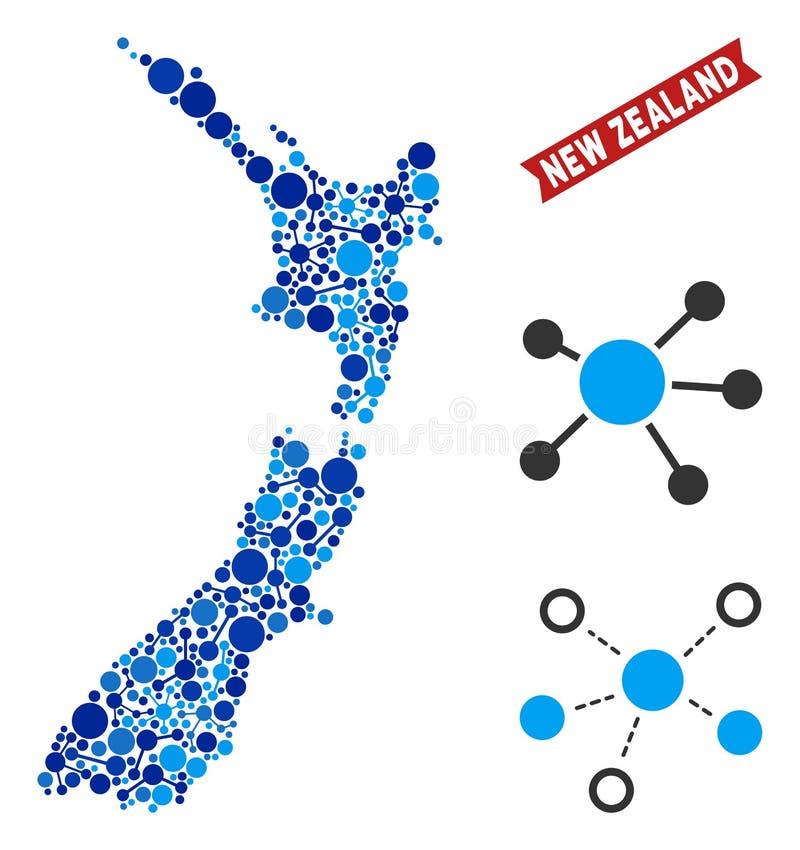 Nowa Zelandia mapa Łączy mozaikę ilustracja wektor