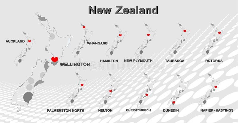Nowa Zelandia mapa obraz royalty free