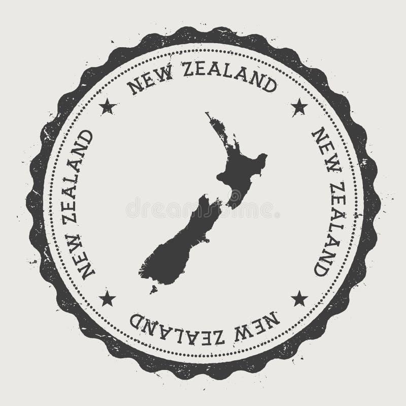 Nowa Zelandia modnisia round pieczątka z ilustracja wektor