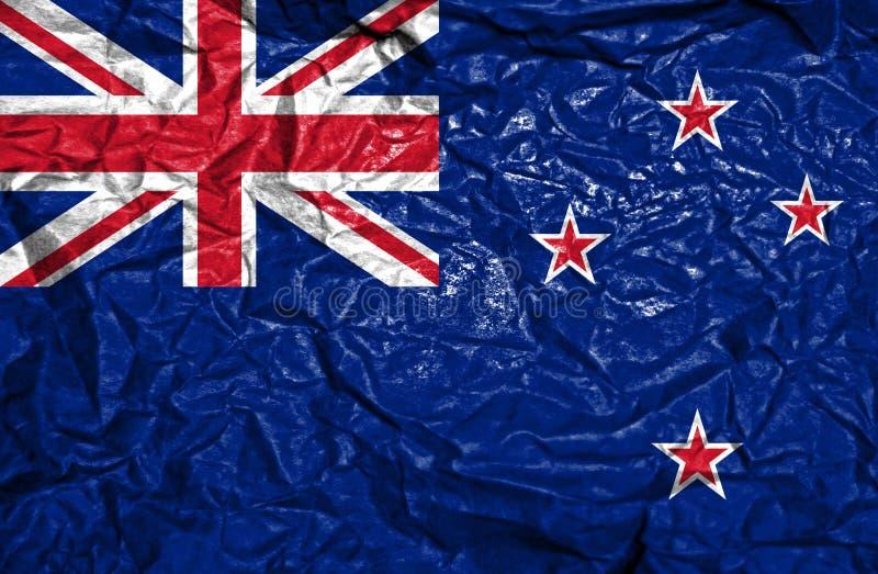 Nowa Zelandia rocznika flaga na starym zmiętym papierowym tle obrazy stock