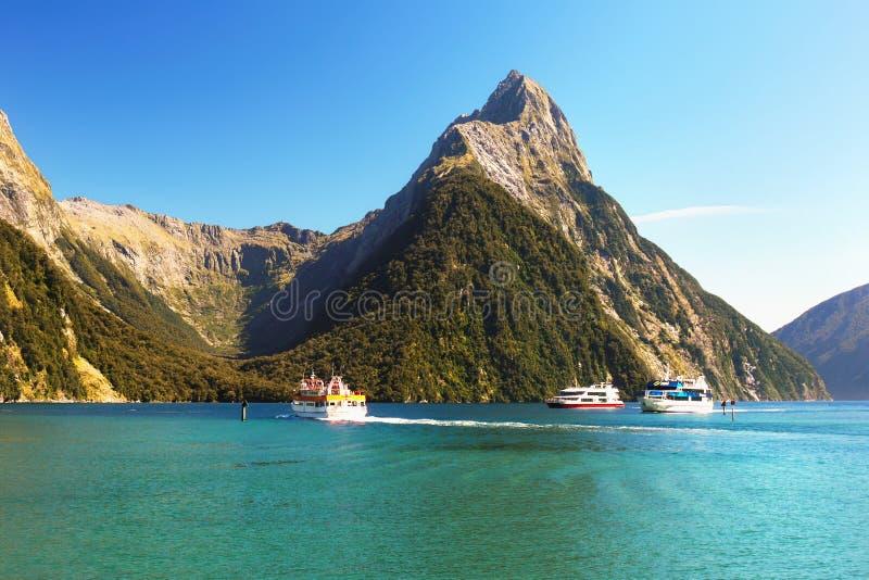 Nowa Zelandia, Sceniczny Fjord krajobraz, Milford dźwięk zdjęcia stock