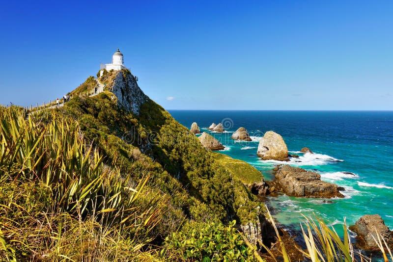 Nowa Zelandia, Sceniczny Nabrzeżny krajobraz, latarnia morska zdjęcia royalty free