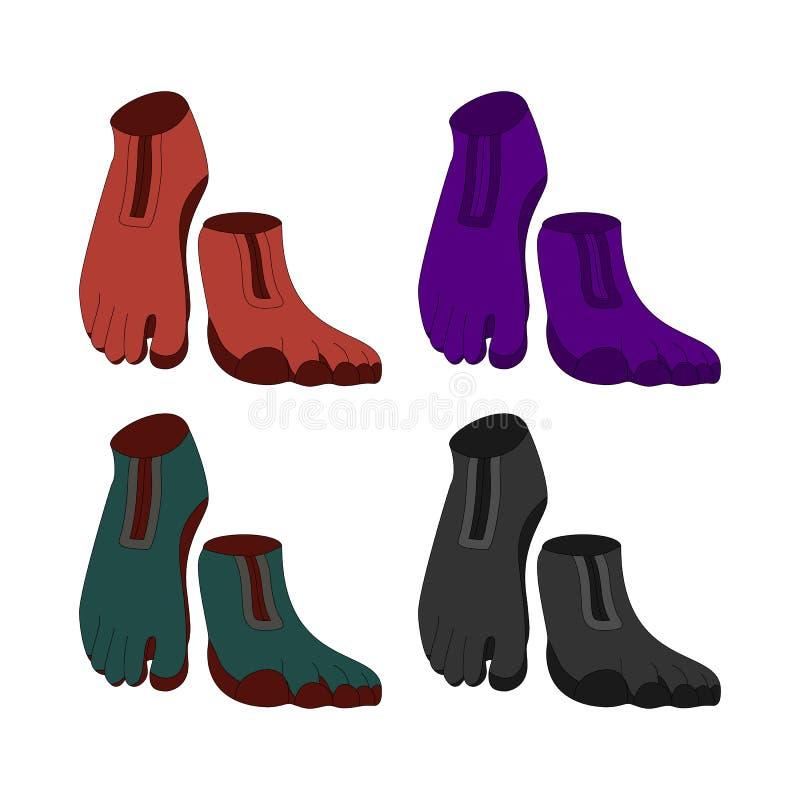 Nowatorski modny obuwie z pięć palec u nogi doświadcza pod warunkiem, że bosy Wielki dla sporta i przypadkowy używa ilustracji