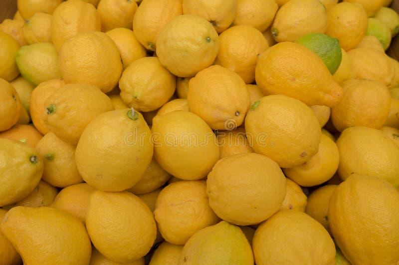 Nowe świeże organicznie cytryny dla sprzedaży przy miastem wprowadzać na rynek zdjęcie stock