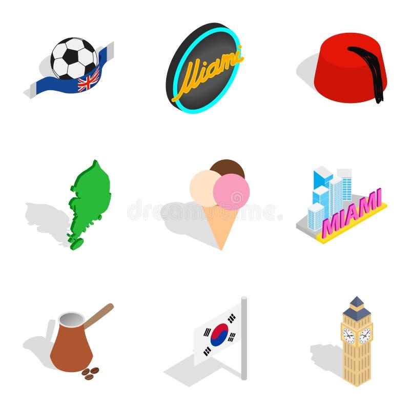 Nowe horyzont ikony ustawiać, isometric styl royalty ilustracja