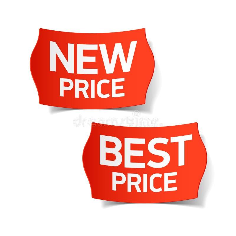 Nowe i najlepszy cen etykietki ilustracja wektor