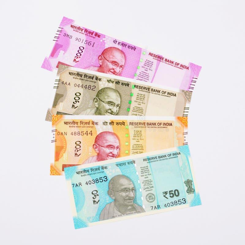 Nowe Indiańskiej rupii waluty notatki obraz stock