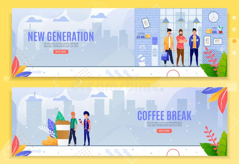Nowe Pokolenie i Kawowej przerwy sztandaru Płaski set ilustracja wektor