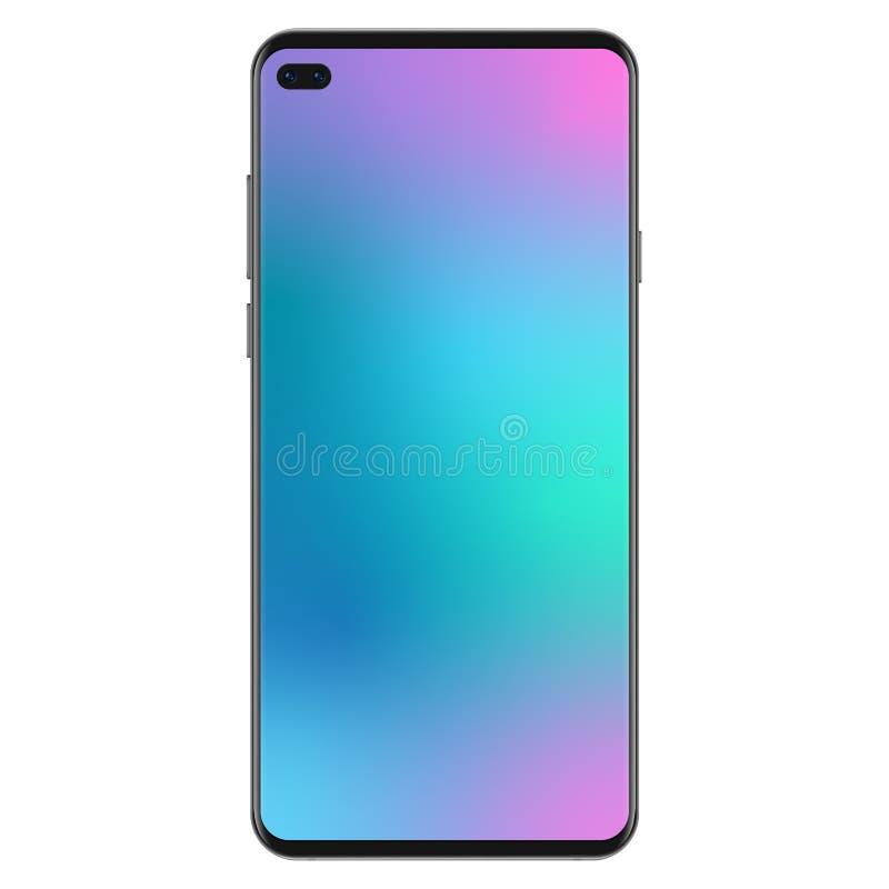 Nowe pokolenie wersja realistyczna czerni schudnięcie żadny ramowy smartphone z gradientowym siatka ekranu wallpaperr wektorem ilustracji