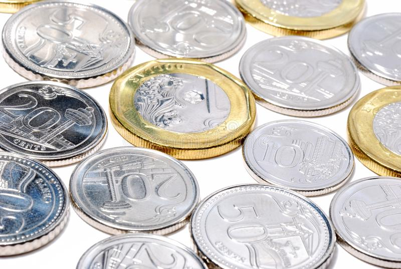 Nowe Singapur monety zdjęcia stock