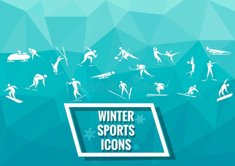 Nowe sport ikony i sportów symbole royalty ilustracja