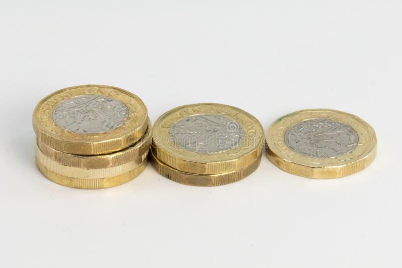 Nowe UK Funtowe monety zdjęcie stock