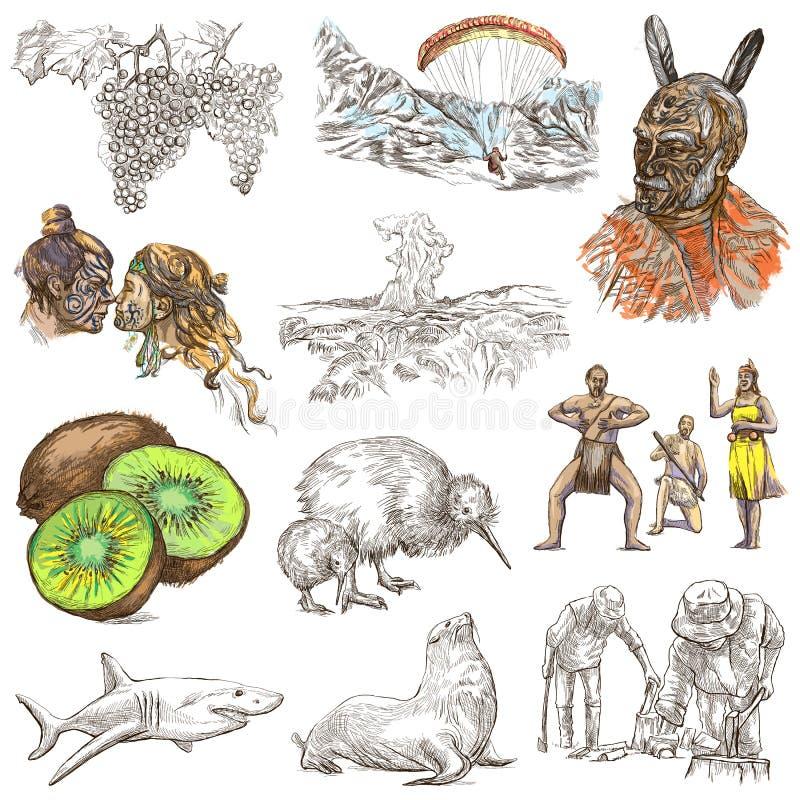 nowe Zelandii Obrazki życie Freehand set Ręka rysujący colle royalty ilustracja