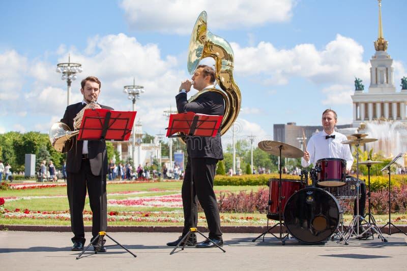 Nowego życia Mosiężny zespół, orkiestra wykonuje muzykę, wiatr i perkusja instrumentów muzycznych gracze, muzycy bawić się trąbki zdjęcia royalty free