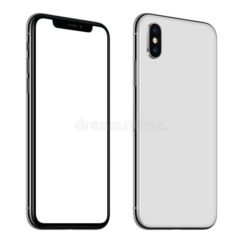 Nowego białego smartphone mockup frontowych i tylnych stron CCW wirował odosobnionego na białym tle fotografia stock