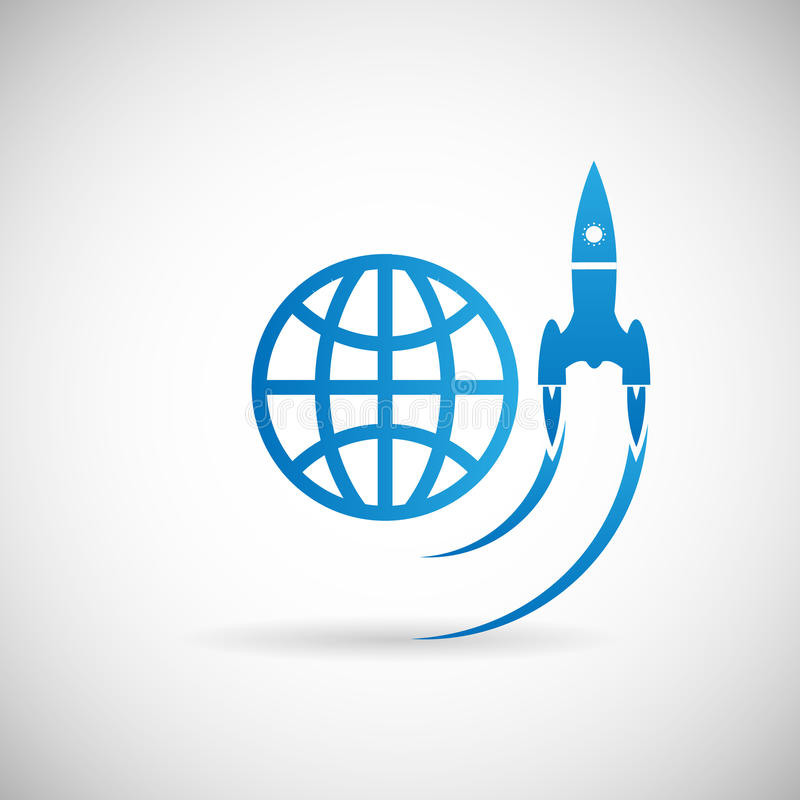 Nowego Biznesowego projekta symbolu rakiety Astronautycznego statku wodowanie ikony projekta Początkowy szablon na Siwieję tła we royalty ilustracja