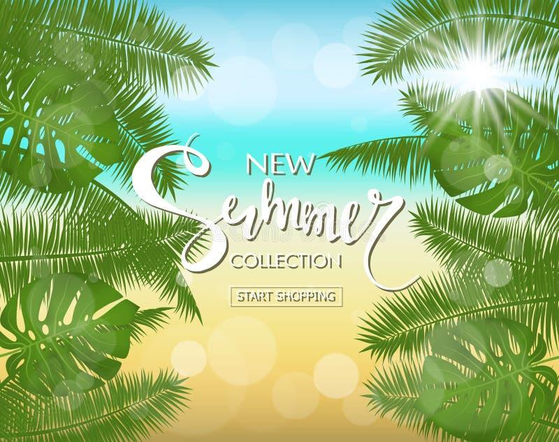 Nowego lata sprzedaży inkasowy sztandar Egzotyczny tropikalny tło z liśćmi i roślinami Wektorowy ilustraci EPS 10 format ilustracja wektor