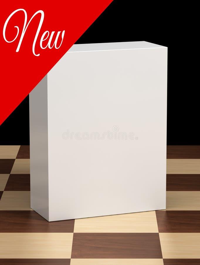 Nowego Produktu pudełko na Chessboard ilustracja wektor
