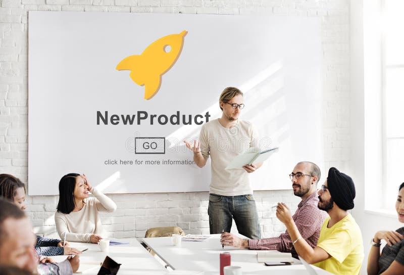 Nowego Produktu wodowanie Wprowadzać na rynek Handlowego innowaci pojęcie obrazy stock