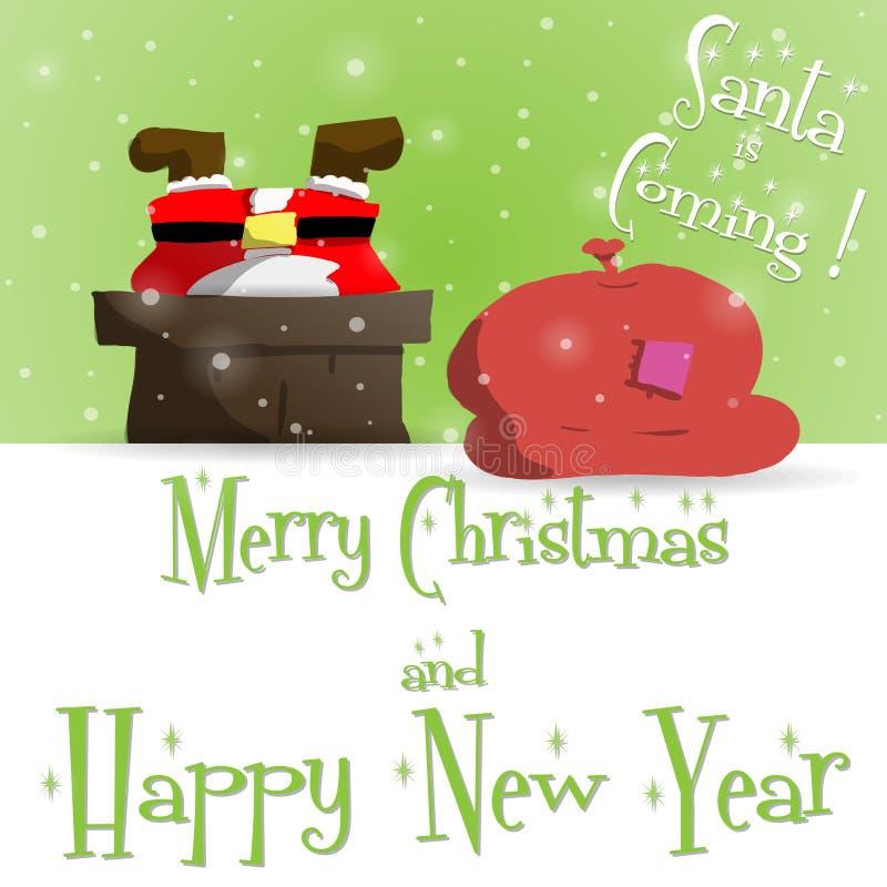 Nowego Roku Święty Mikołaj zieleni kartka z pozdrowieniami wektor ilustracja wektor