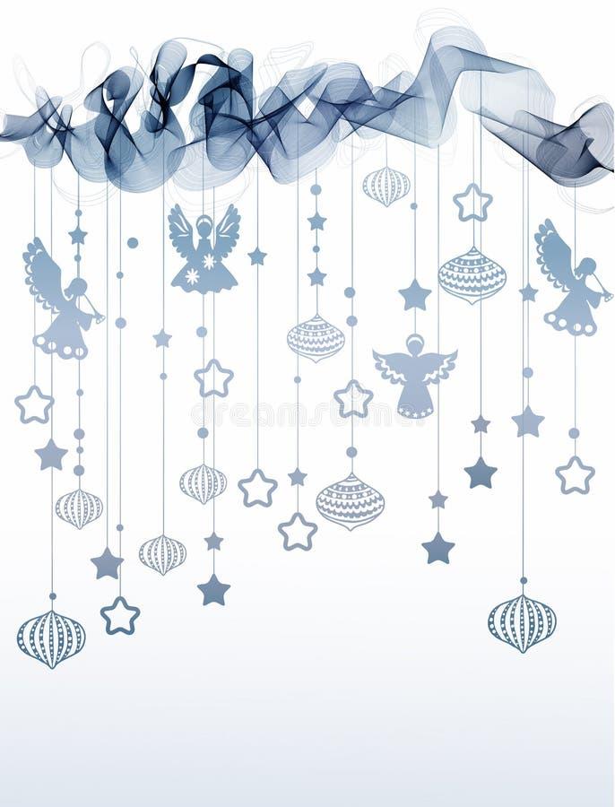 Nowego roku abstrakcjonistyczny tło z fala i aniołami royalty ilustracja