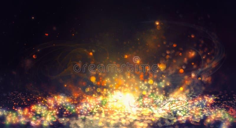 Nowego Roku błyszczący abstrakcjonistyczny tło Czarodziejka sznurek zaświeca backgrou obraz stock