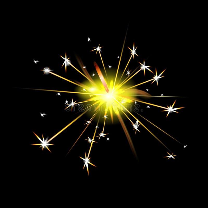 Nowego roku Bengal ogień Sparkler świeczka odizolowywająca na czarnym tle Wektorowy lekki skutek Partyjny fajerwerk magii światło royalty ilustracja