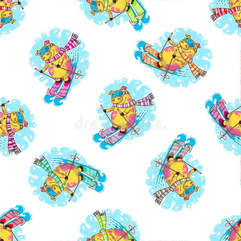 Nowego Roku bezszwowy wzór z świniami ilustracja wektor