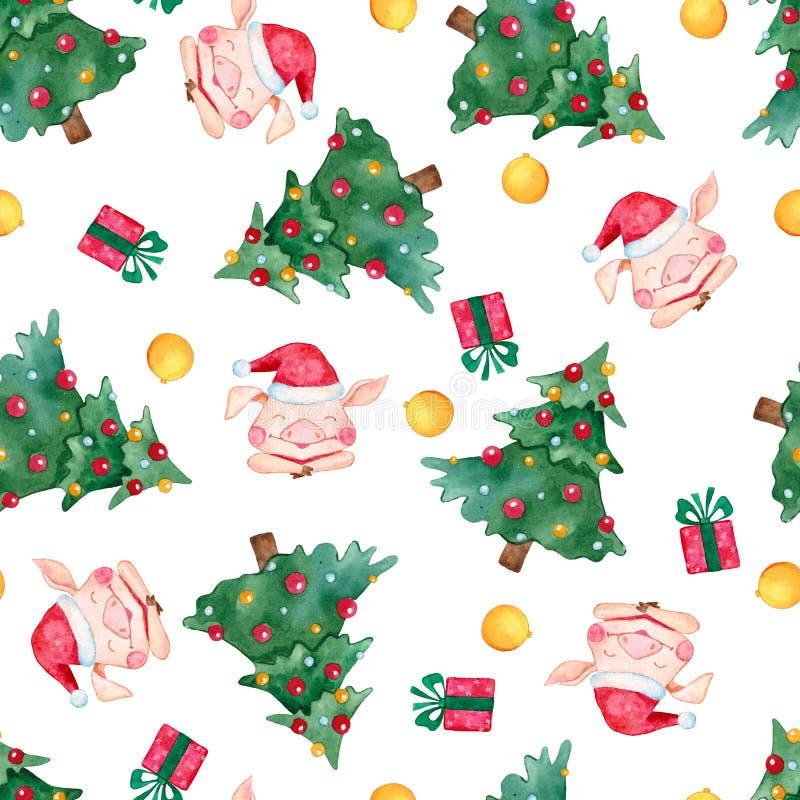 Nowego Roku bezszwowy wzór z choinką, prezentami, świniami i płatek śniegu, ilustracji