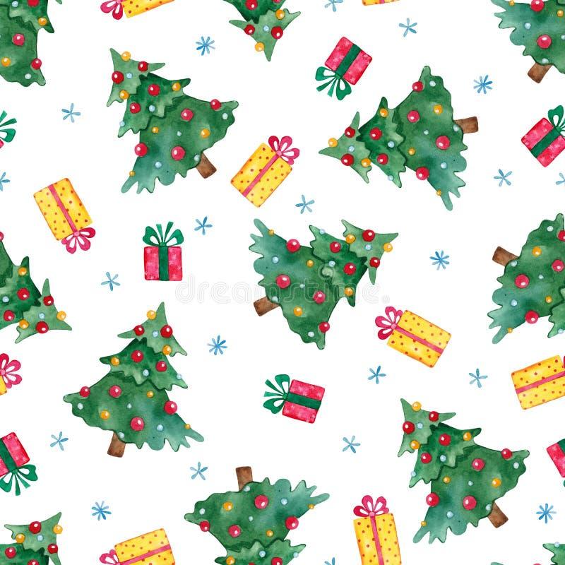Nowego Roku bezszwowy wzór z choinką, prezentami i płatek śniegu, royalty ilustracja
