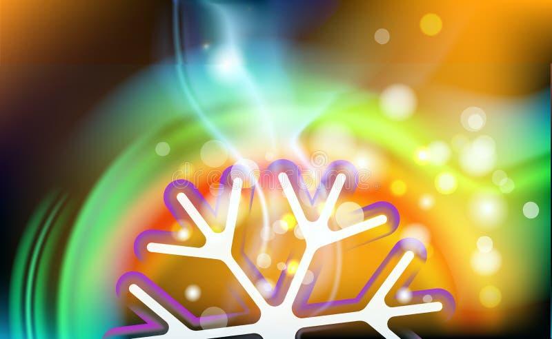 Nowego roku bokeh kawowy abstrakcjonistyczny tło Zamazana sylwetki zieleni filiżanka z dymem i płatek śniegu od kawy pienimy się  ilustracji