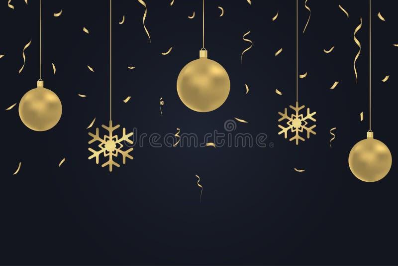Nowego Roku ciemny tło z złocistymi Bożenarodzeniowymi piłkami, confetti i płatkiem śniegu, Zima wakacje karta, sztandar, plakat  ilustracja wektor