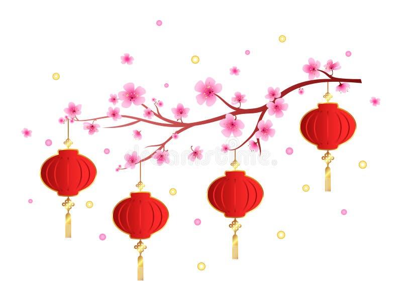 Nowego Roku Czerwony lampion na białym tle ilustracja wektor