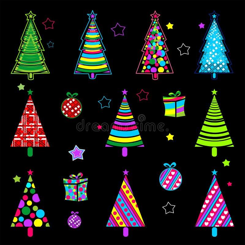 Nowego roku drzewo Kolekcja Jarzyć się obrazki Colourful kolekcja dla dekorować twój miejsca, pocztówki, pakuje materiały royalty ilustracja
