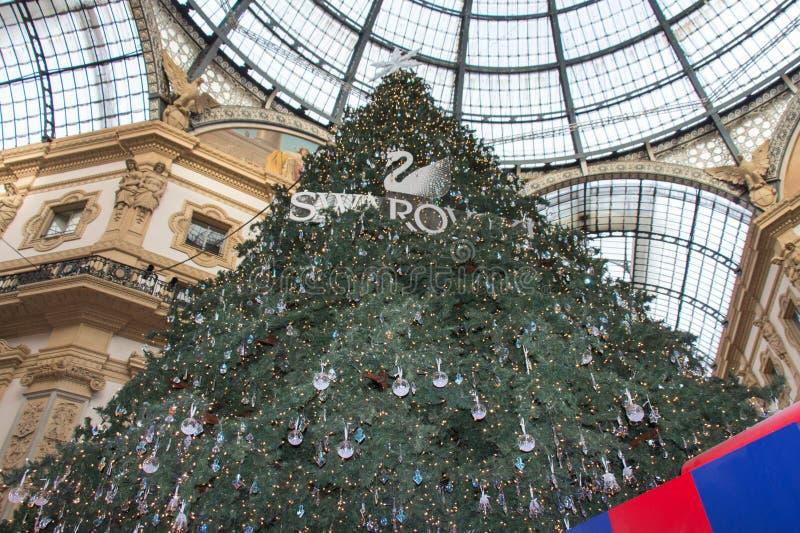 Nowego roku drzewo przy Galleria Vittorio Emanuele II, Mediolan, Lombardy, Włochy obraz stock