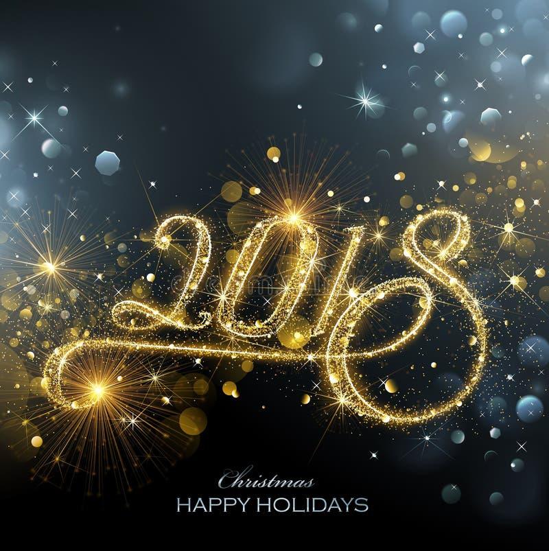 Nowego Roku 2018 fajerwerki ilustracja wektor