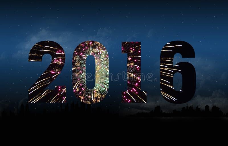 Nowego Roku 2016 fajerwerki royalty ilustracja