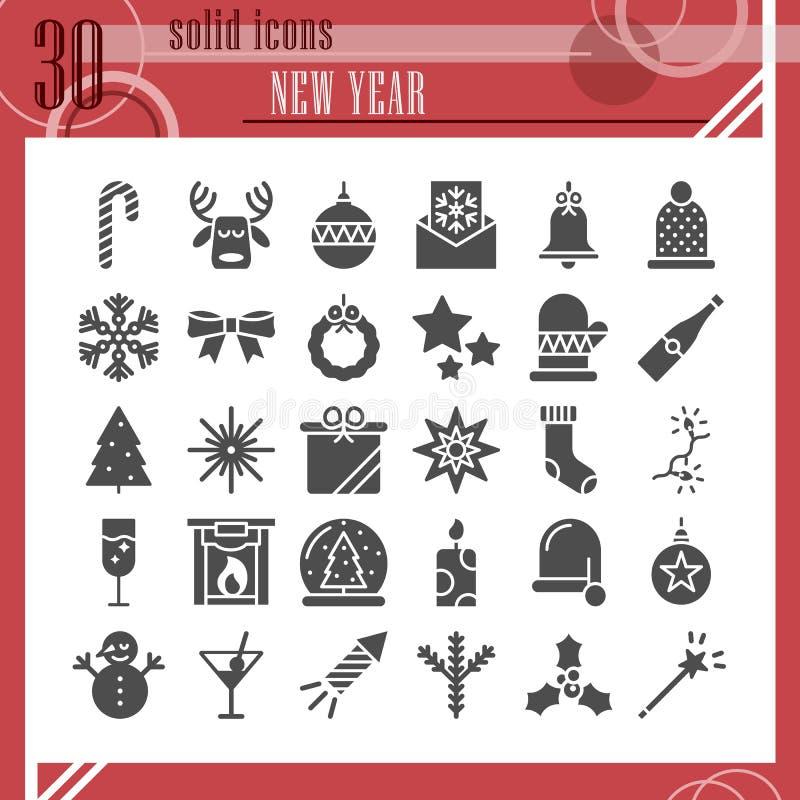 Nowego Roku glifu ikony set, boże narodzenie symbole kolekcja, wektor kreśli, logo ilustracje, zima znaki stali ilustracja wektor
