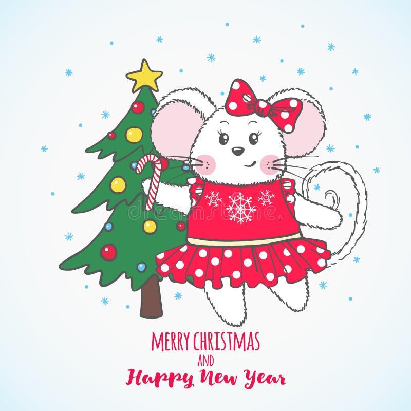 Nowego Roku i bożych narodzeń kartka z pozdrowieniami z śliczną myszą ilustracji