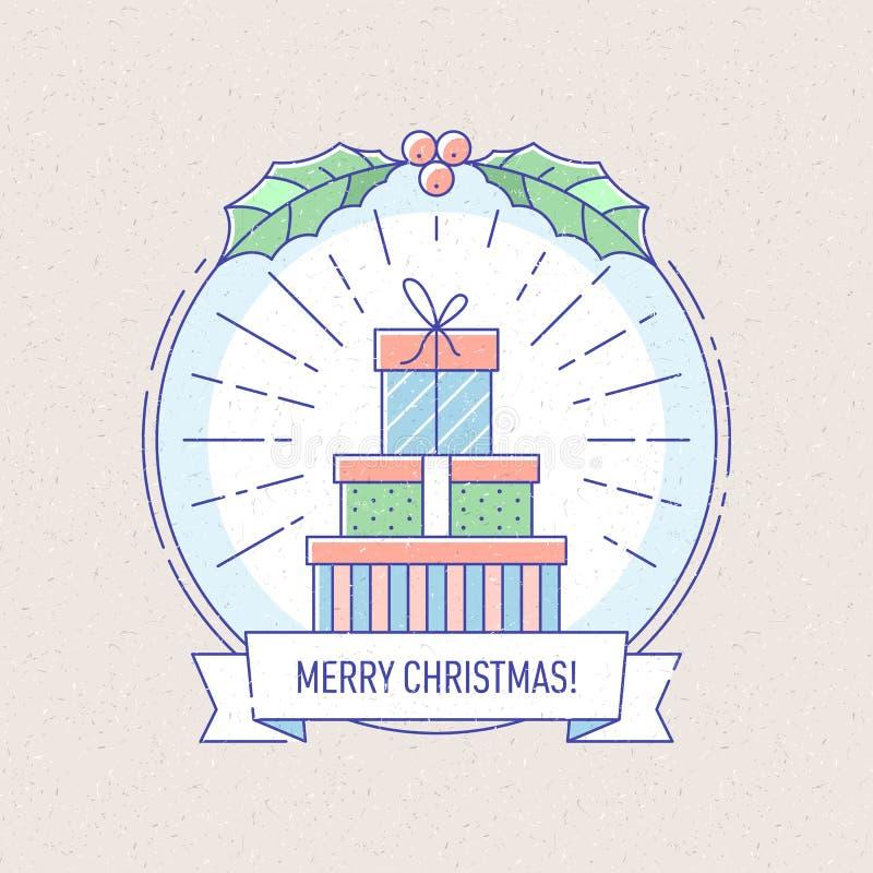 Nowego Roku i bożych narodzeń odznaka z prezentów pudełkami royalty ilustracja