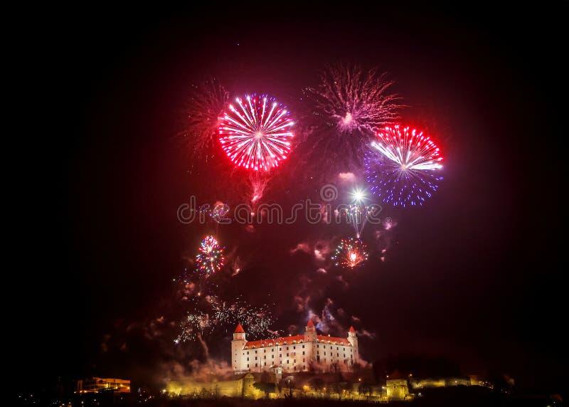 Nowego Roku i dnia niepodległości świętowanie w Bratislava, Slovaki zdjęcie royalty free