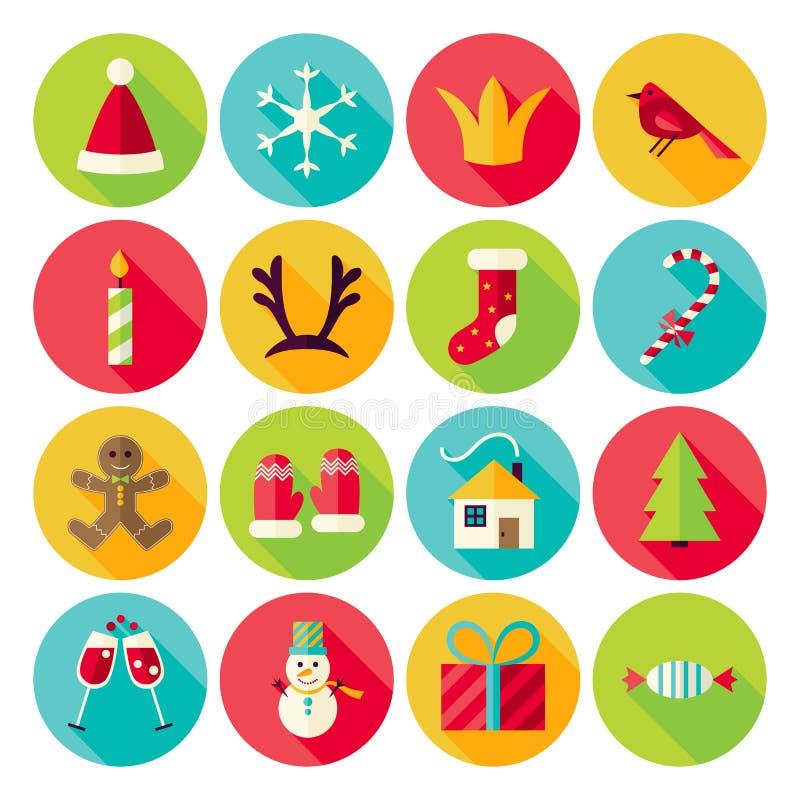 Nowego Roku i Wesoło bożych narodzeń okręgu ikony Ustawiać z długim cieniem royalty ilustracja